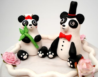 Panda Cake Toppers Wedding Cake Decor Bride and Groom Keepsake Anniversary Cake Topper Panda Bear Wedding Topper