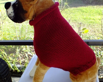 """Dog Sweater Hand Knit Christmas Pet Gift 18.5"""" inches long Wool Large"""