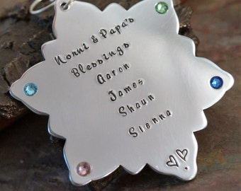 Personalized Christmas Ornament - Hand Stamped Family Keepsake - Nana & Papa's Blessings Tree Ornament