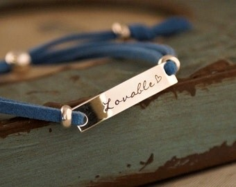 Friendship Bracelet / Affirmation Bracelet / Hand Stamped Personalized Bracelet / Adjustable Bracelet with faux suede (Sterling Silver)