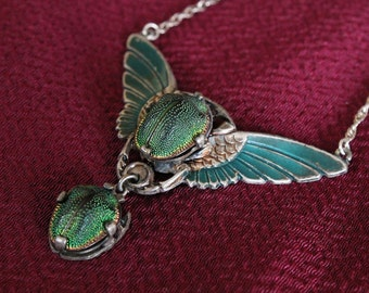 RESERVED Rare! Antique Scarab Beetle Necklace / REAL BEETLES! / Egyptian Revival / Antique Necklace / Victorian / Enamel