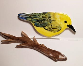 Hand Made Hand Painted KILN fired Yellow finch bird mosaic tile with branch