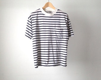 90s striped OXFORD soft SPRING t shirt top