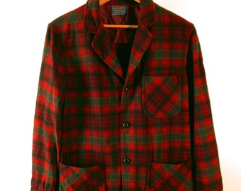 1960s Men's Pendleton Jacket. Outstanding Red Shadow Plaid. Leather Knot Buttons. Medium