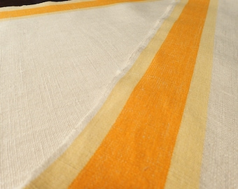 1940's Vintage Woven Linen Textile , White Linen with Yellow and Sherbet Orange Side Stripes, Medium Weight Linen Toweling Yardage