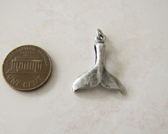 Old Sterling Silver Whale Tail Lucky Pendant or Charm