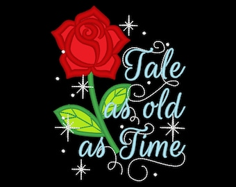 Belle rose Tale as old as time beautiful rose applique embroidery design assorted sizes 4x4, 5x7 and 6x10