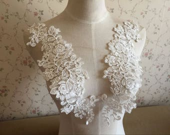 Alencon Lace Appliques Embroidered Flowers Patches For Wedding Supplies Bridal Hair Flower Headpiece 1 Pair