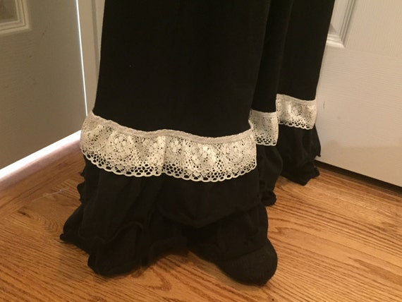 Women's Black Ruffle Pants with Lace