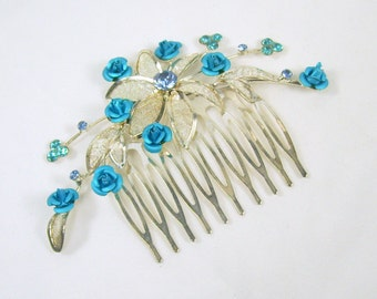 Vintage 1980s Hair Comb Silver Tone Mesh Metal Flowers Rhinestones Tiny Mini Blue Roses Wedding Bride Something Blue Up-Do