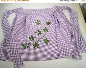 ON SALE Vintage Kitchen Half Aprons Cotton Lilac Gingham Green Ivy Embroidered