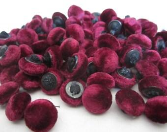 Antique Vintage Velvet Buttons Cranberry Wine Lot of 12