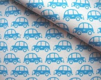 Japanese Fabric Cotton Kokka - Beetle Car Blue - half yard