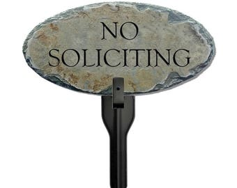 STONE NO SOLICITING Plaque w/ Stake ( Stone / Slate ) No solicitors / Flowerbed Post sign / Tasteful