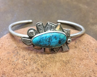 Sterling silver and turquoise confetti cuff bracelet, turquoise bracelet, confetti jewelry, spiral jewelry