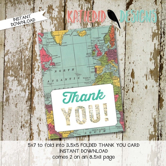 Oh the places he'll you'll go world map THANK YOU CARD folded 1294 digital printable baby shower birthday retirement wedding stationary