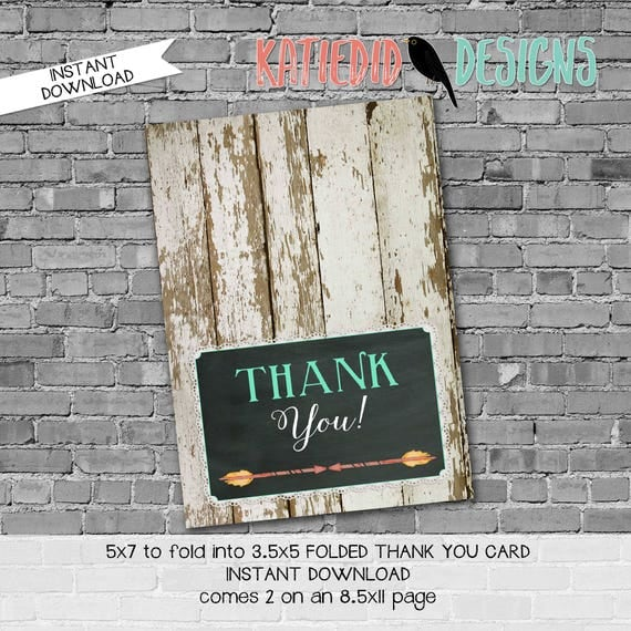 boots or bows lace country rustic wood 1439 tribal arrow chalkboard THANK YOU CARD folded digital printable baby shower birthday stationary
