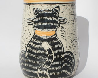 Cat Kitchen Utensil Holder, MADE PER ORDER, in Orange, Black and White