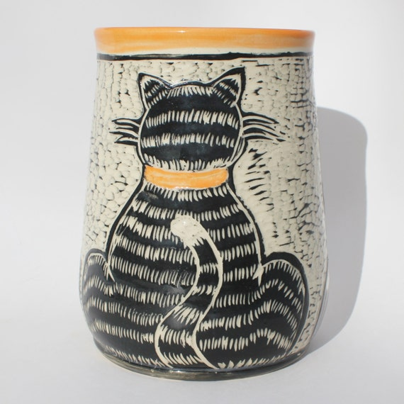 Cat Kitchen Utensil Holder Made Per Order In Orange Black