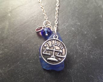 Libra Zodiac Charm Necklace with Blue Scottish Sea Glass and  Birthstone, Astrological Sign Jewelry, Gift from Scotland