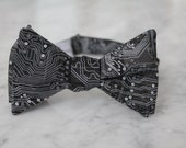 Computer Circuit Board Tie in Black - Computer Science bow tie - clip on, pre-tied with strap or self tying