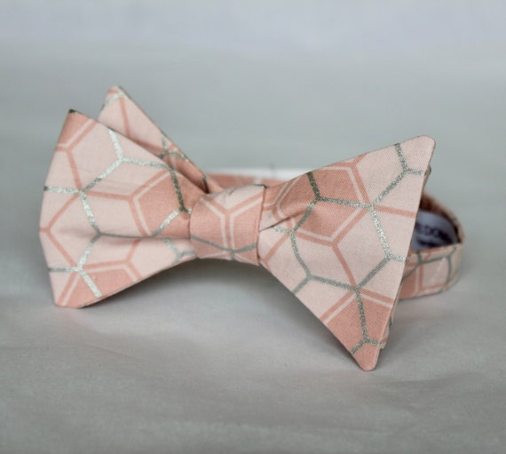 Bowtie in Shell Peach and Silver Hexagons - Clip on, adustable strap, or self tying - wedding neckties - ring bearer outfit