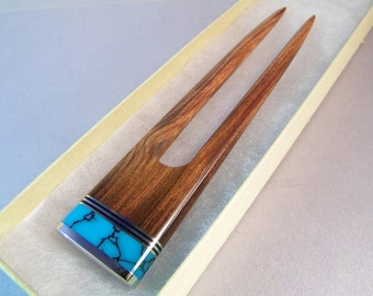 Wooden Hair Fork SHIPS IMMEDIATELY Handmade Inlaid Desert Ironwood Hairfork