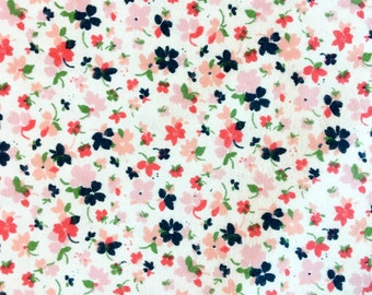 Pink and Navy Floral Flannel Swaddle Blanket, Receiving Blanket