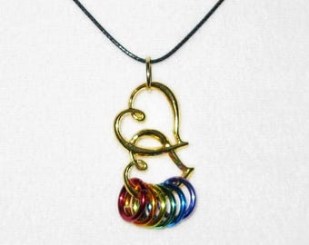 Gay Pride Necklace Gold Double Heart Jewelry Adjustable Black Cord Rainbow - Lesbian Love - LBGT - Human Rights Equality