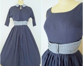 Vintage 1950s Blue Dress and Jacket / 50s Cotton Dress / Navy Blue / Small