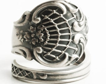 Victorian Spider Web Ring, Sterling Silver Spoon Ring, Antique Towle Stuart ca 1880, Handcrafted Gift, Engraved P, Adjustable Ring Size 6463