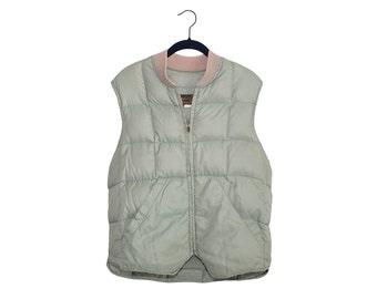 Vintage Eddie Bauer Light Seafoam Green Premium Quality Goose Down Vest, Made in USA - Medium