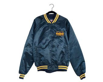 Vintage University of Michigan Locker Line Block Letter M Logo Maize & Blue Button Up Coaching Jacket, Made in USA - XL