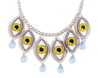 Eyes Statement Necklace - Kawaii Transparent Perspex Laser Cut Teardrop Cry Baby Colorful Pink Yellow Kitschy Weird Rad Charm Edgy