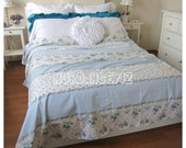 clearance sale Blue floral Bedding -floral duvet cover doona cover college dorm Twin XL FULL Queen King size romantic shabby cottage chic be