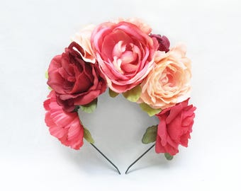 Pink and Peach Flower Headpiece, Mexican Flower Crown, Floral Crown, Fiesta, Frida Kahlo, Rhubarb, Flower Headband, Floral Headband, Boho