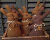 "Gathering of Primitive Handmade ""Chocolate""  Bunny Bowl Fillers/Ornaments - Easter/Spring Decoration"