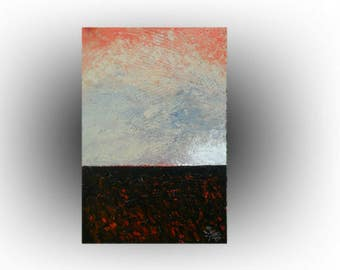 Modern Landscape Abstract painting Orange and GRAY Pallette knife Impasto Heavy textured - Peace Haven - 24 x 36 - Skye Taylor