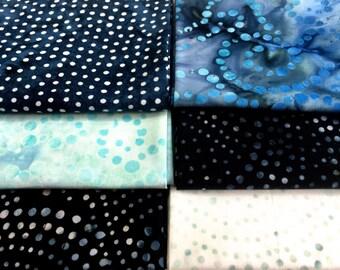 Fat Quarters  6 Batik Fabric Bundle  Blue Dotted Assortment  Quilting Weight Cotton Fabric Boundless Mixers  Stash Builder Quiltsy Destash