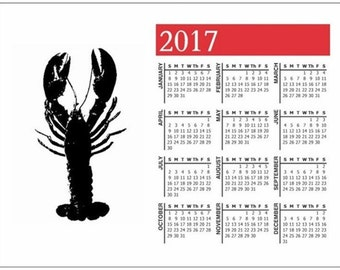 Maine Lobster Calendar Magnet, 2017, Great Christmas Gift, Envelope Included, FREE SHIPPING in USA