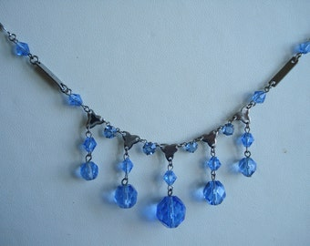 Art Deco Necklace Blue Glass  Beads and Rhinestones 1920's 1930's