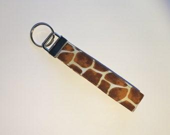 Giraffe Print Key Fob, Key Chain, Key Ring, Gifts under 10, Purse Accessory