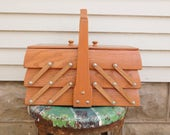 Vintage Wooden Sewing Box, Expandable Sewing Box, Accordion Sewing Notions Basket