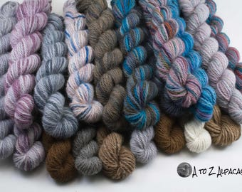 Worsted Weight - Mini Skeins - 100% Alpaca Yarn - Made in Canada - Pick a mini or two :)