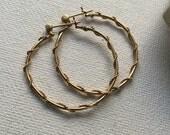 "10K yellow gold hoop earrings  1 1/4"""