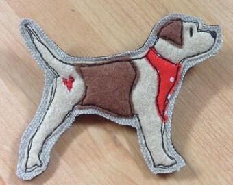 Border terrier brooch, terrier applique pin, embroidered border terrier brooch, felt brooch pin, dog lover gift, border terrier lover