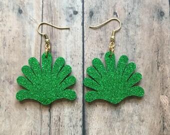 Green anemone dangle earrings