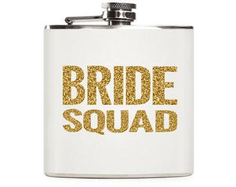 Bride Squad Flask, Bridesmaids Flask, Bride Entourage, Personalized Gold Glitter Flask, Custom Stainless Steel 6oz Hip Flask