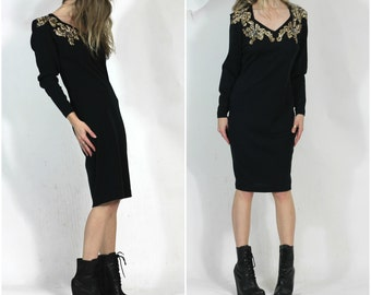 80s Vintage Knit Black Dress Liz Claiborne Dress m Festive 80s Dress Body Con Black Gold m