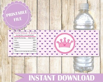 Princess Bottle Labels Princess Baby Shower Water Bottle Wrappers Princess Birthday Printable Princess Labels Purple Hearts INSTANT DOWNLOAD